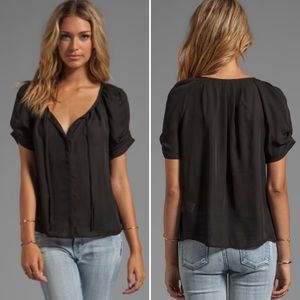 Joie Revolve 100% Silk 'Berkeley' Blouse Black XS